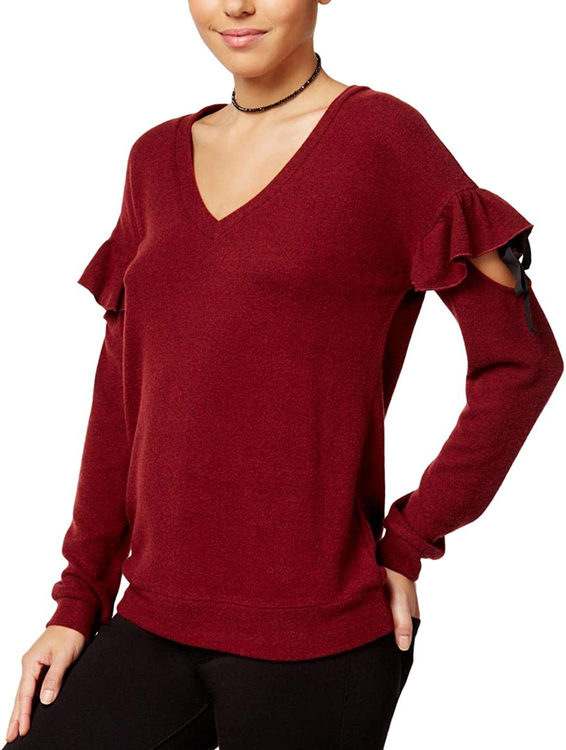Almost Famous Juniors' Ruffled Cozy Sweater (Burgundy, XS)