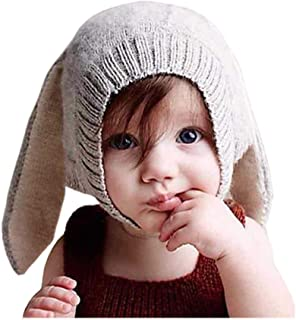 Sponsored Ad - Crochet Earflap Pilot Hats Rabbit Ears Beanie Cap Winter Warm Knit Caps for Toddlers Baby Girls and Boys