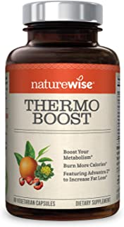 NatureWise Thermo Blend Metabolism Booster | Natural Thermogenic Fat Burner Appetite Suppressant & Weight Loss Pills for Men & Women | Green Tea Extract & Bitter Orange, Vegan, Gluten Free [1 Month]