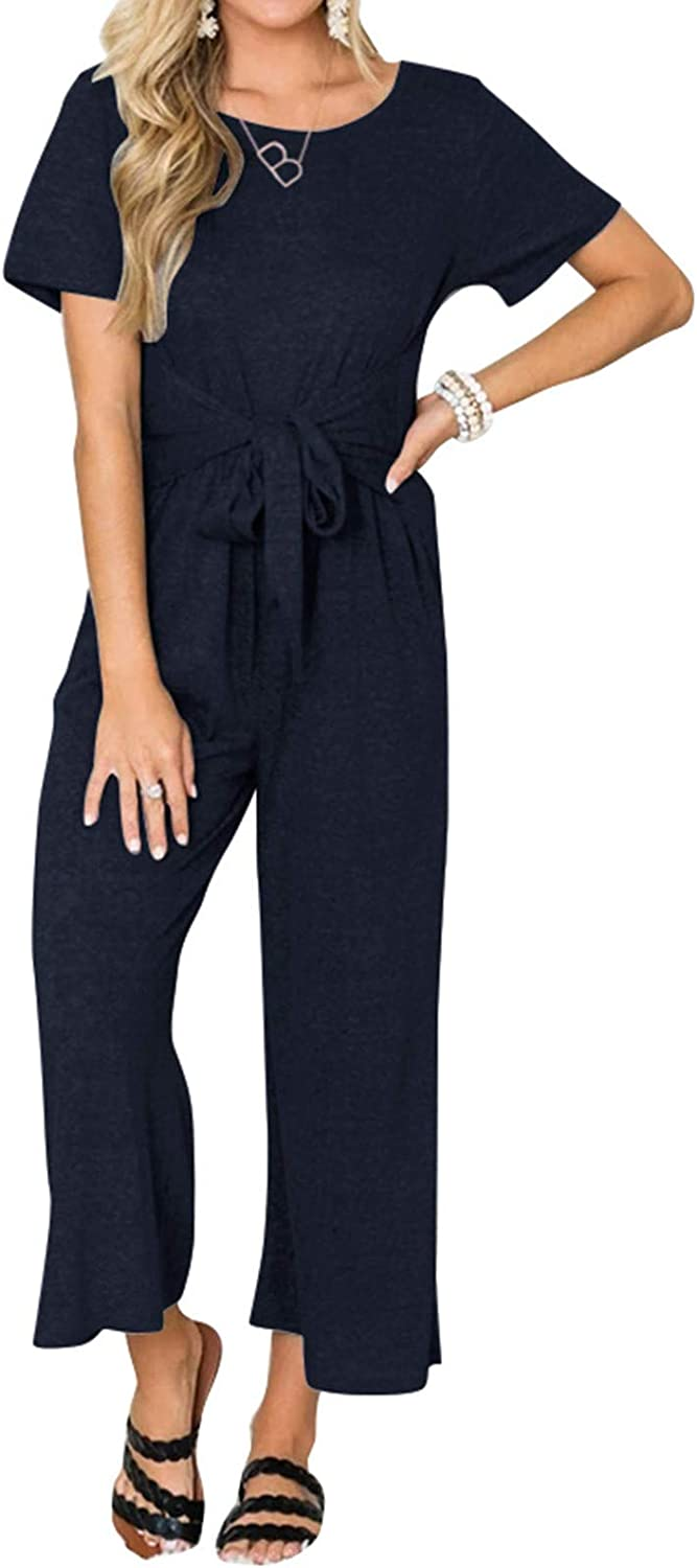 Inverlee Summer Jumpsuit for Womens Casual Solid Color Round Neck Loose Straight-Leg Sweatpants Jumpsuit Comfy