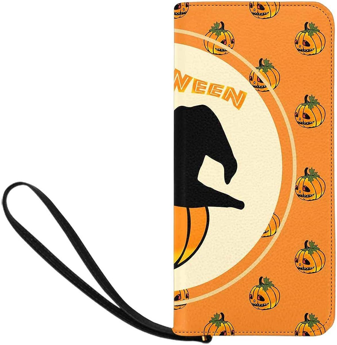 INTERESTPRINT Halloween Pumpkin Head Clutch Wallet Handbag for Party Wedding
