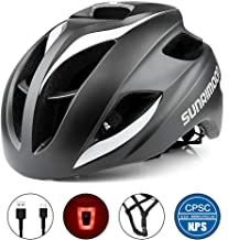 SUNRIMOON Bike Helmet with USB Light for Adult Men/Women Road & Mountain Cycling, in-Molded Reinforcing Skeleton for Enhanced Protection, Adjustable Bicycle Helmet, 20.47-23.62 Inches