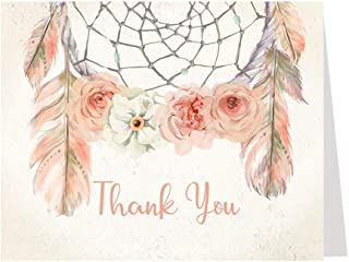 Boho Baby Shower Thank You Cards Dream Catcher Bohemian Arrow Tribal Rustic Girl Dreamcatcher Indian Notes (50 Count)