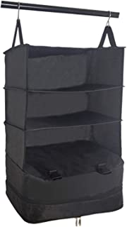 Portable Luggage System Suitcase Organizer - Large, BLACK, Packable Hanging Travel Shelves & Packing Cube Organizer