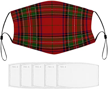 Dust Mask with Filters Clan Stuart Royal Tartan Plaid Washable and Reusable Mask for Cycling Camping Outdoor Adjustable and R