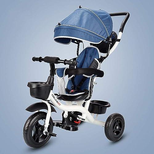 descuentos y mas ZYT Triciclo para Niños 3-en-1, 3-en-1, 3-en-1, Cochecito Trike con sombrilla Desmontable, 3 Ruedas para Niños Paseo en Bicicleta de Triciclo de Pedales 18 Meses a 5 años,Cinturón de Seguridad de 5 Puntos,azul  nuevo estilo