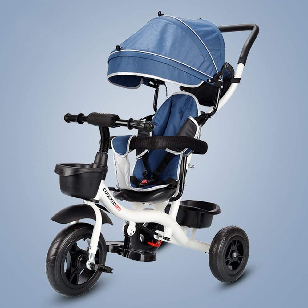 ZYT Triciclo para niños 3-en-1, Cochecito Trike con sombrilla Desmontable, 3 Ruedas para niños Paseo en Bicicleta de Triciclo de Pedales 18 Meses a 5 años,Cinturón de Seguridad de 5 Puntos,Blue: Amazon.es: