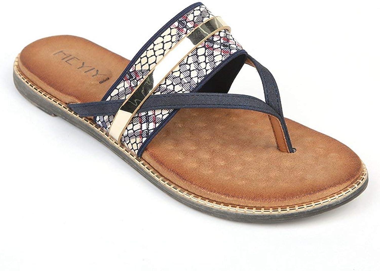 Fashion shoesbox Women's T-Strap Flats Thong Slip-on Wedge Sandals Flip Flop