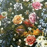 Samtstoff Dekostoff Italian Velvet Samt Blumen bunt 1,45cm