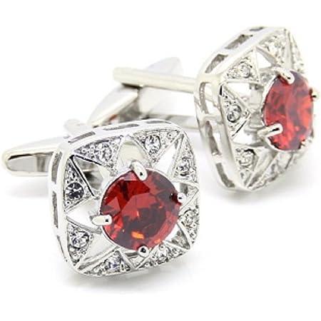 MRCUFF Red Round Crystal Square Cufflinks Pair in a Presentation Gift Box /& Polishing Cloth