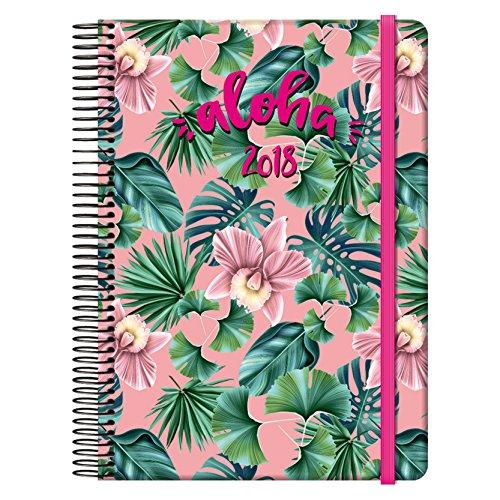 Dohe Aloha - Agenda 2018 día página con diseño Pink, 15 x 21 cm