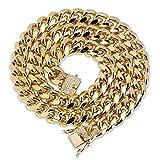 Collar de cadena cubana, chapado en oro de 18 quilates, con botón de hip hop para hombres y mujeres, 12 mm, accesorios de pulsera (oro, plata).