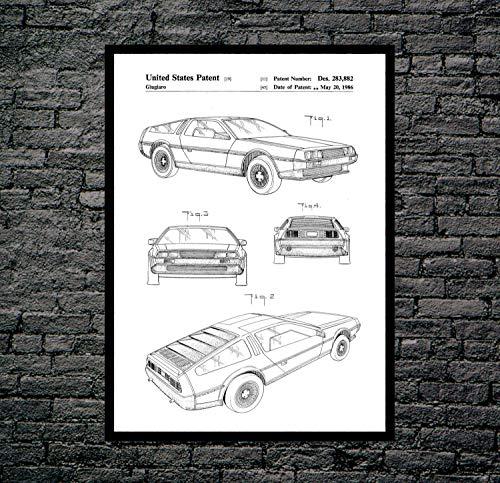 Delorean Druck Delorean Poster Delorean Patent Delorean Decor Delorean Art Delorean Blueprint Delorean P092