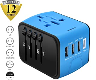 Universal Travel Adapter, Cre-Heaven Travel Power Adaptor Worldwide, All in One Travel Charger with 3 USB & 1 Type-C 3.4A, International Power Adapter for US, UK, EU, AU, Over 200 Countries