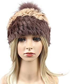 Hat Fashion Knit Hat Women's Autumn and Winter Color Matching Outdoor Leisure Warm with Hair Ball Fashion Accessories (Color : Brown)