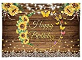 Seasonwood Fabric 8x6ft Sunflowers Happy Birthday Party Backdrop No Wrinkles Rustic Wood Floor Butterfly Photography Background Cake Table Banner Milestone 16th Bday Decorations Photo Booth Supplies