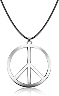 Tatuo 1 Piece Metal Peace Sign Pendant 1960s 1970s Hippie Party Accessories Necklace