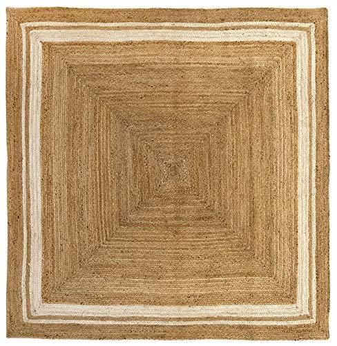 HAMID Alfombra Yute Alhambra Color Natural Greca Blanca - Alfombra 100% Fibra de Yute (200x200cm)