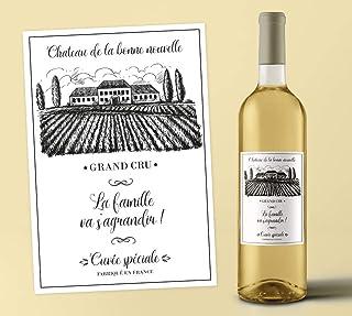 Etiquette bouteille de vin personnalisée - annonce grossesse, demande témoin