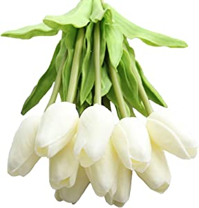 WAQIA HOUSE 30 Pcs Artificial Tulip Flowers Real Touch Tulips Fake PU Tulip Flower Bouquet for Home Wedding Party Office Decor(Pure White)
