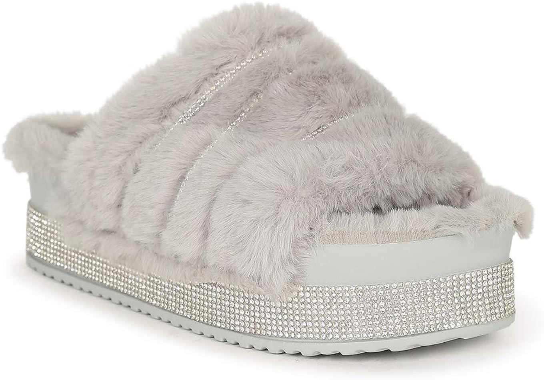 Rasolli Faux Fur Rhinestone Platform Plush Slide Sandal 20446 - Grey Faux Fur (Size: 8.0)