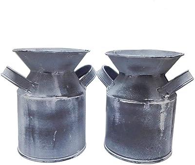 Watering Honey Mini Country Rustic Primitive Jug Vase Milk Can for Office Desktop Decoration~2 Pcs,Grey