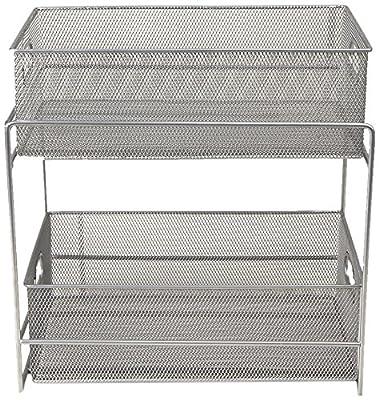 Mind Reader 2 Tier Metal Mesh Storage Baskets Organizer, Home, Office, Kitchen, Bathroom, Silver