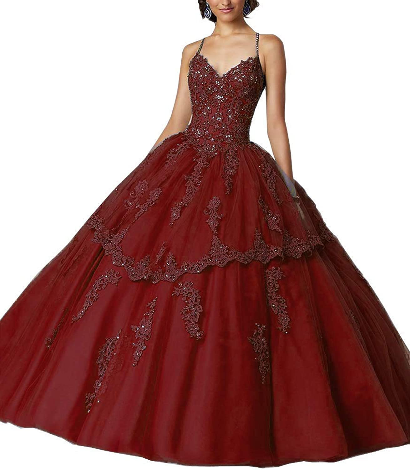 Jingliz Spaghetti Strap Quinceanera Dresses Formal Party Dress Sweet 16 Crystals Beaded Ball Gowns