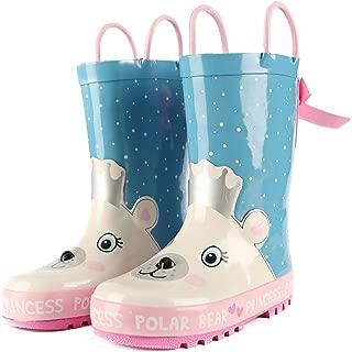 Kids Rain Boots Girls Boys Toddler Rainboots Rubber Rain Shoes Animal Printed,Easy-On Handles