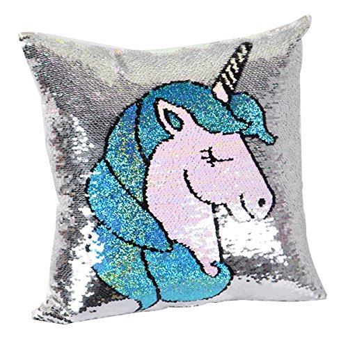 """Unicorn Reversible Sequins Throw Pillow Cover Decorative,Unicorn Birthday Gift for Girls,Magic Sequence Pillow Case Cushion Cover for Room,Bedding and Couch Sofa Decor(Only 16"""" X 16"""" Pillow ..."""