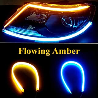 2Pcs 18.7 Inches Dual Color White/Sequence Amber LED Strip Light, Waterproof Car Flexible Daytime Running Light Strip DRL Switchback Headlight and Turn Signal Light Tube - Easy Paste Install …