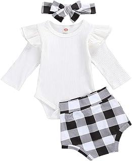Geagodelia, Conjunto de 3 piezas para bebé de manga larga + pantalones cortos a cuadros + diadema para el pelo de niña