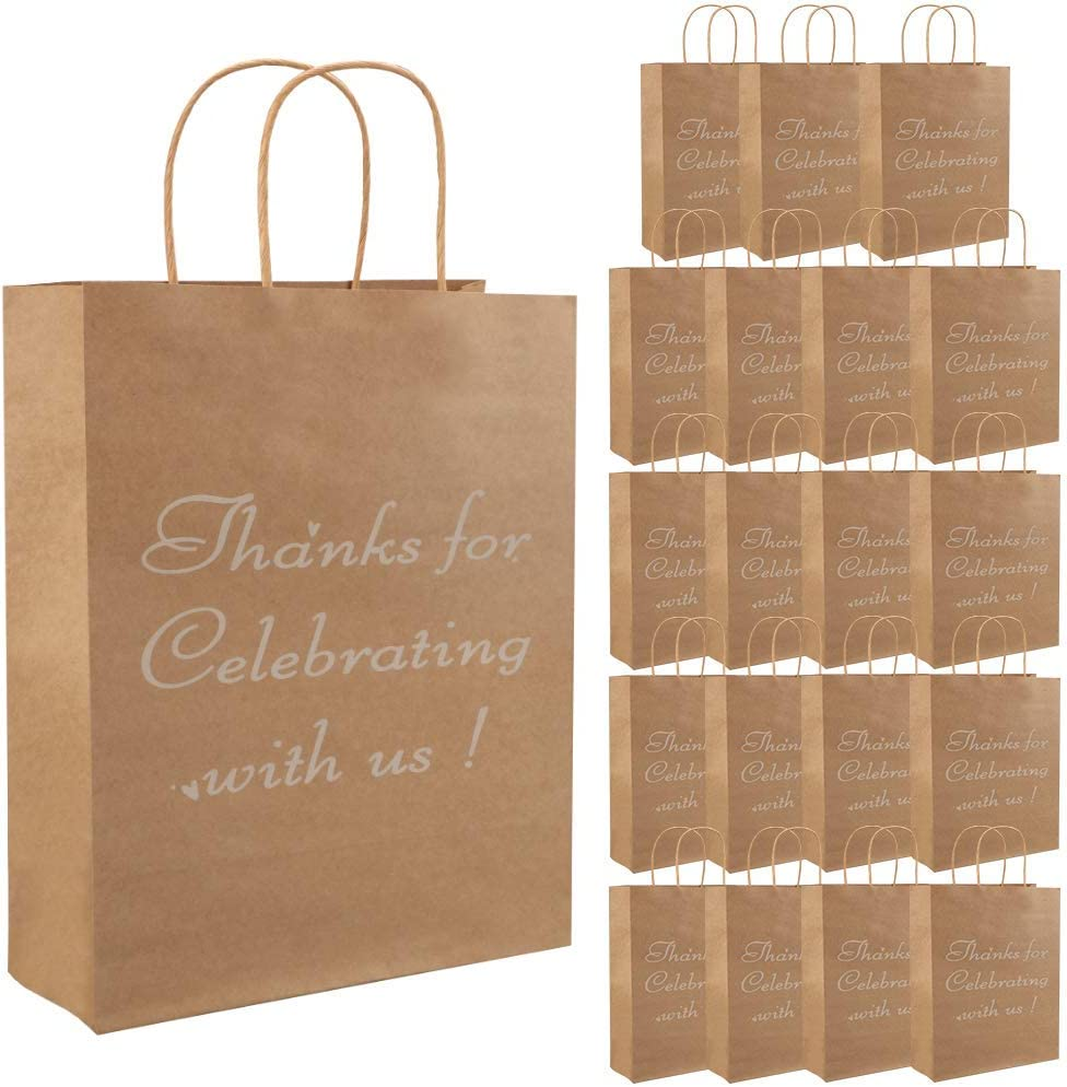 Shopping Medium,12Pcs Perfect for Wedding Reception Business Baby Showers,Retail,Grocery Gift Bags Kraft Paper Bags with Sturdy Handles Thank You Gift Bags Christmas Bags for Gift Black Bulk