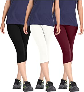 Pixie Women's Solid Color Casual Capri/Above Knee Length Shorts in Combo Pack of 3 (Black, White and Maroon) - Free Size