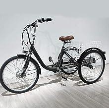 Triciclo eléctrico Adulto Bicicleta de Tres Ruedas batería de Litio para Padres Ancianos Bicicleta eléctrica de 3 Ruedas con Cesta Trasera, excursiones de Compras, Movilidad de Ahorro de Mano