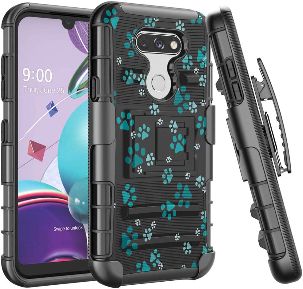 Ohiya Case Compatible with LG Phoenix 5 [Military Grade Protection Shockproof Heavy Duty Kickstand Holster Protective Black Case Cover] for LG Phoenix 5 AT&T Prepaid Phone (Paw Print Green)