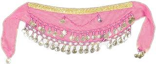 PULABO 2 piezas gasa árabe danza del vientre bufanda niños monedero cinturón de la cadera bufanda falda abrigo correa port...