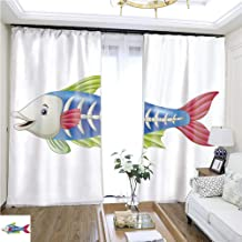 Structured Curtain Cute x ray Fish Cartoon W72 x L76 Living Room noisefree Ring top Curtain Highprecision Curtains for bedrooms Living Rooms Kitchens etc.