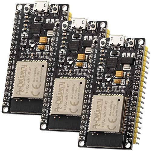 AZDelivery 3 x ESP32 NodeMCU Module WLAN WiFi Dev Kit C Development Board mit CP2102 Nachfolgermodell zum ESP8266 und inklusive E Book