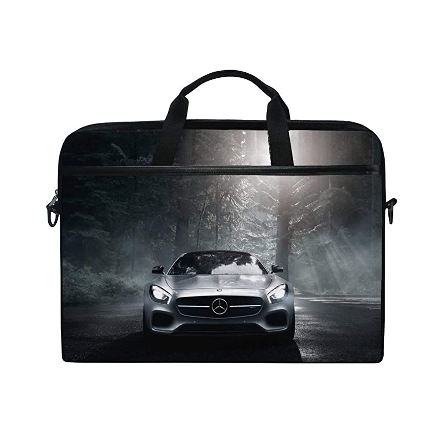 Mercedes Benz Mercedes Amg Front View Silver Wood Laptop Shoulder Messenger Bag Case Sleeve for 14 Inch to 15.6 Inch with Adjustable Notebook Shoulder Strap