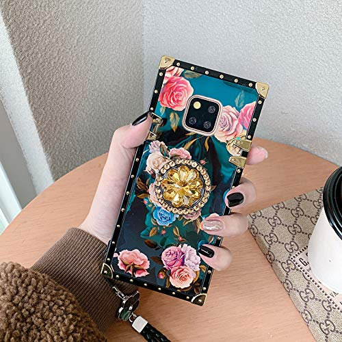 Note 8 Square Case Flower with Diamond Ring Holder - Samsung Galaxy Note 8 Square Edge Phone Case for Woman Girls Retro Rose Flower Luxury Glitter Metal Decoration Corner Protective Back Cover