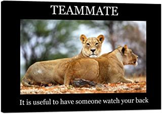 Modern Animals Inspirational Canvas TEAMMATE-Two Lions Lying on Sand Motivational Quotes Motto Indoor Decor Motivational Wall Painting for Office Gym Bedroom Classroom Framed - 36''Wx24''H