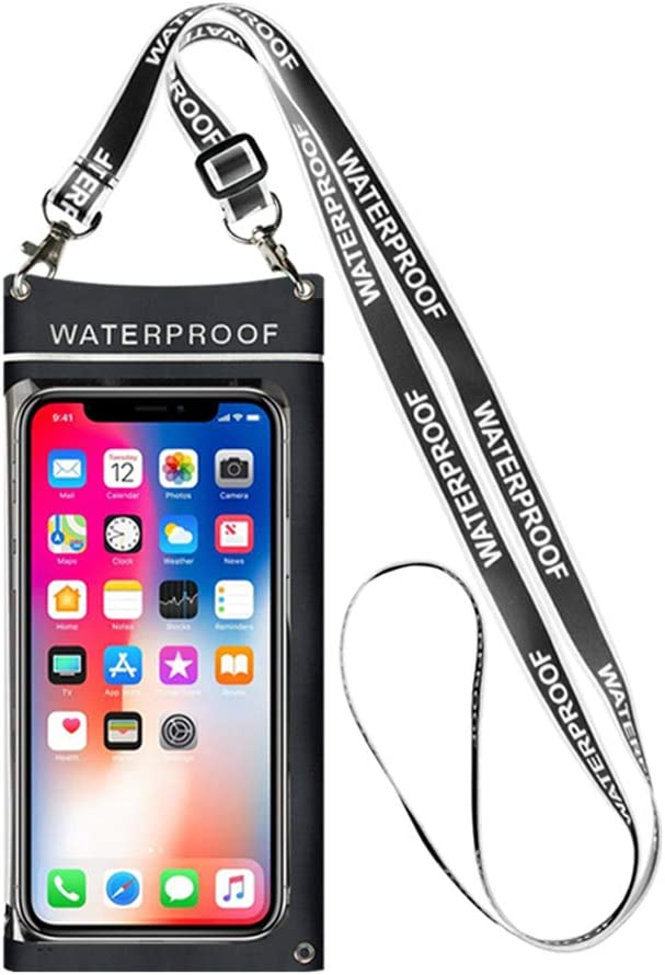 Waterproof Cell Phone Case, Universal Underwater Black Waterproof Big Bag for Cell Phone, Side Opening Design Summer Water Sports Cellphone Dry Bag, Outdoor Beach Bag, up to 6.8 Inches by KFSM