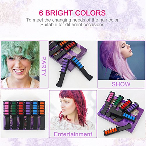 Temporary Bright Hair Chalk Set - Kalolary Metallic Glitter for All Hair Colors- Built in Sealant, for Hair Dyeing Party and Cosplay DIY, 6 Colors