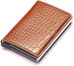 Card Holder CDZXMM Aluminum Alloy Credit Card Holder Pu Leather Card Wallet Card Holder Men and Women Automatically Eject Card Holder 10x 6.5x1.8cm eyu Brown