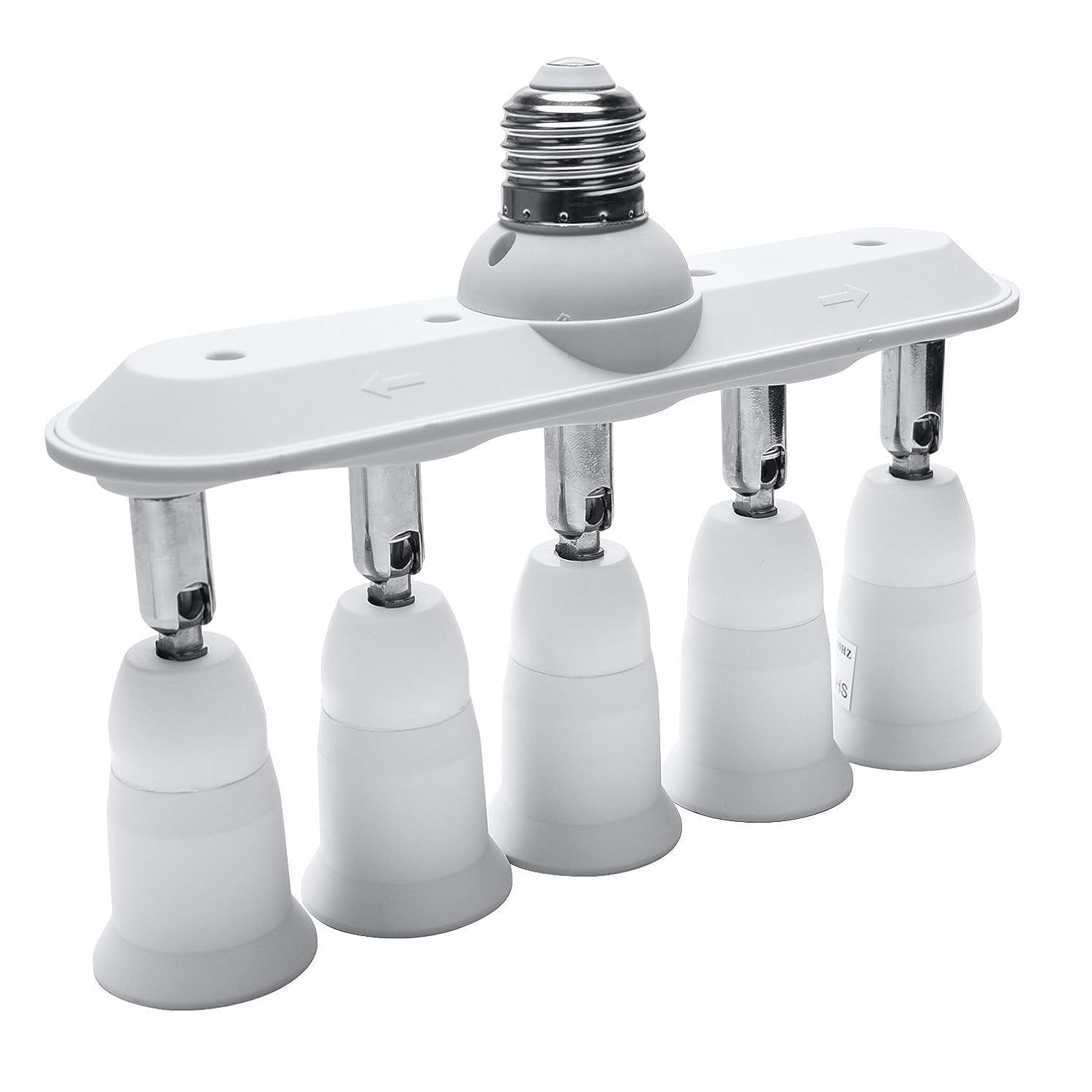 Light Socket Splitter JACKYLED 5 in 1 E26 E27 Adapter Converter Horizontal Designed 360 Degrees Adjustable 180 Degree Bendable
