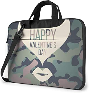"Happy Valentine's Day Laptop Bag Protective Case Computer Messenger Briefcase Women Men 13"""