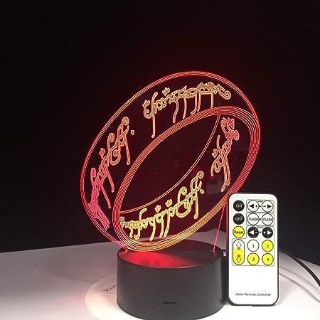 Il Signore Degli Anelli Lampada 3D 7 Colori Regalo Per Bambini Touch Night Light Per Bambini Vacanza 3D Illusion Desk Lamp Film Memory Present