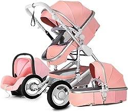 Baby Stroller 2019 New Design Luxury Stroller Baby Stroller 3 in 1 Folding Four-Wheeled Stroller high Landscape car seat (Pink)