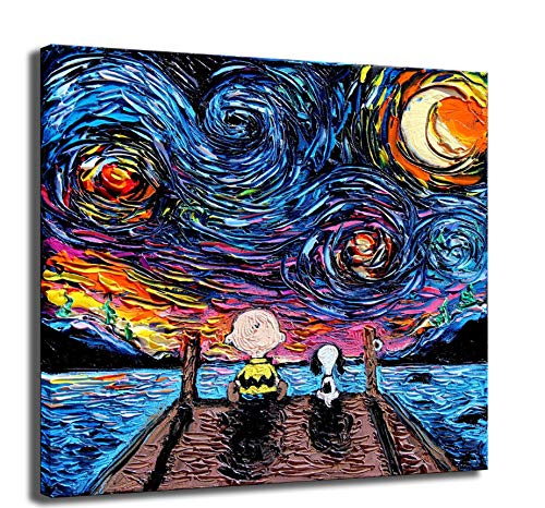 Wandkunst Bilder Moderne Hd Leinwanddruck Artist Residence Dekorative Wandmalerei, Charlie Brown Snoopy Gemälde Ohne Rahmen 50 x 50 cm